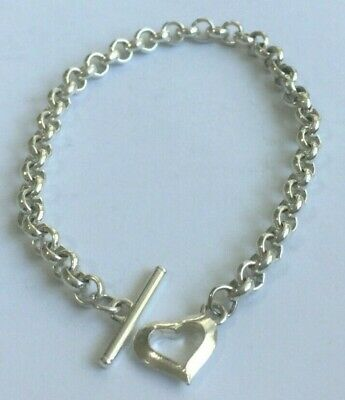 Solid 925 Sterling Silver Woman's Stunning Heart-T Bar Bracelet 13 Grams 8  Long • 17£