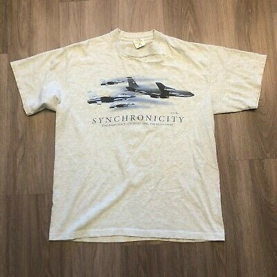 $23.99 • Buy Vintage Mach1 Mens XL Air Force 1 Fighter Jet Synchronicity T Shirt USA Made
