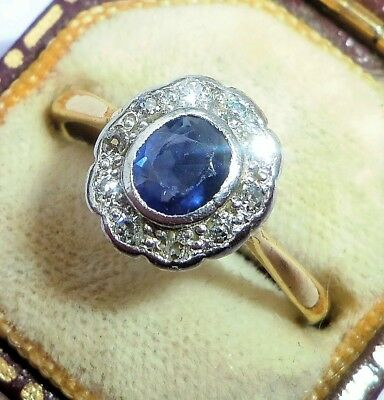 Antique Art Deco 18ct Gold, Platinum, Sapphire & Diamond Ring, Size N, Rubover • 475£