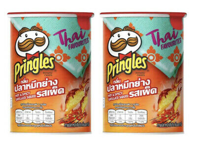 2 X Pringles Hot And Spicy Grilled Squid THAI Flavored Potato Chips Snack 42g • 11.80£