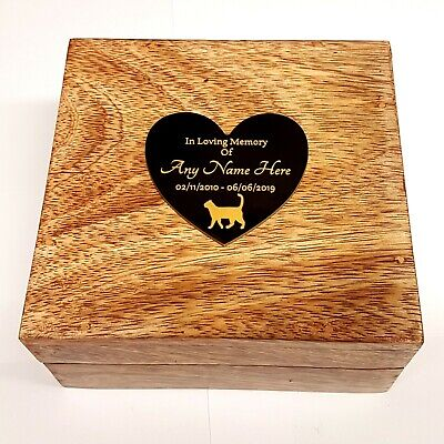 £15.99 • Buy  Pet Urn With Heart Shaped Plaque Ashes Pet Box Dog Or Cat Casket Mango Wood