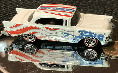 Hot Wheels Red White Blue Flying Customs 57 Chevy Bel Air American Flag Redlines • 7.49£