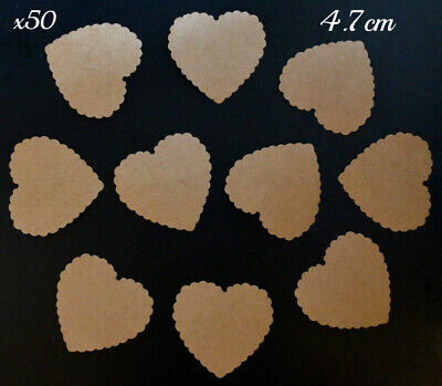 £3.49 • Buy 50 Large Hearts Valentines Message Note Table Decorations Brown Kraft Card 4.7cm