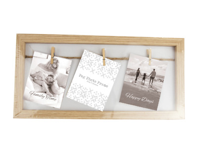 £4.45 • Buy Natural Wood Wooden Box Picture Photo Frame Decorative Washing Line Pegs UK