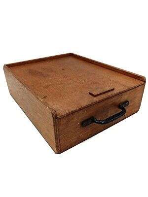 Vintage Storage Box With Sliding Lid, Handle And Two Compartments • 20.50£