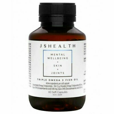 AU31.95 • Buy Js Health Triple Omega 3 Fish Oil 60c - Mental Wellbeing + Skin + Joints