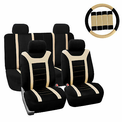 $39.99 • Buy Car Seat Cover For Auto Full Set W/Steering Wheel Cover/Belt Pads/4heads Beige