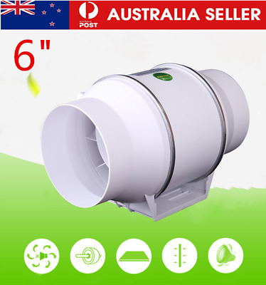 AU43.75 • Buy 6 Inch Silent Extractor Fan Duct Hydroponic Inline Exhaust Industrial Vent AU