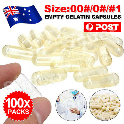 AU5.45 • Buy Empty Hard Gelatin Capsule Size 1 0 00 # Clear Kosher Gel Medicine Pill Vitamins