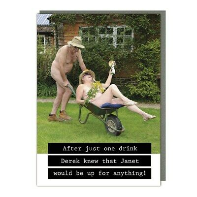 £2.95 • Buy Funny Rude Card Naked Couple Garden & Wine Up For Anything Any Occasion Birthday