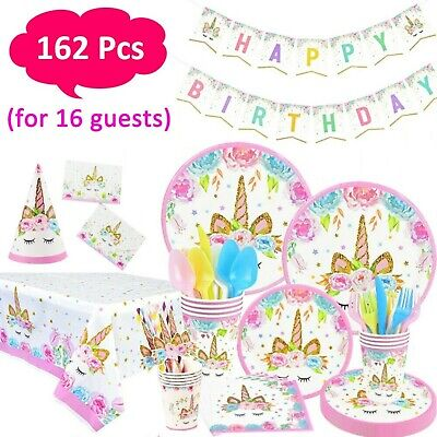 AU44.95 • Buy Unicorn Birthday Party Decoration Supplies Set & Tableware Kit 162pcs -Serves 16