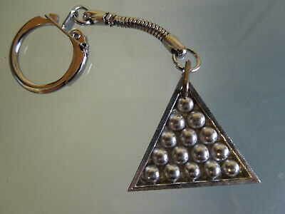 English Pewter Keyring ~ Snooker Balls In Triangle Fob On Chain With Ring • 4.99£
