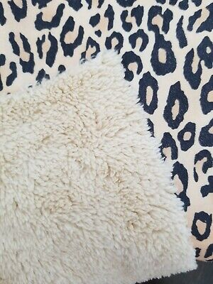 Faux Lambs Wool Sherpa Suede Reversible Fabric Light Brown Camel Leopard Print • 15.74£
