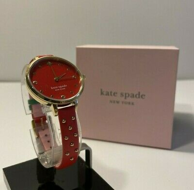 $ CDN93.93 • Buy Kate Spade Women's Metro Red Leather Strawberry Gold Studded Watch KSW1631 NWT