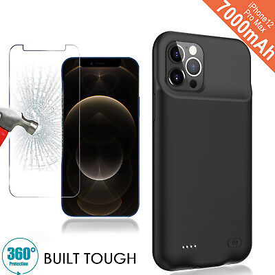 AU55.09 • Buy Smart Battery Case For IPhone 12 Pro Max 7000mAh Power Bank Charger Cover +Glass