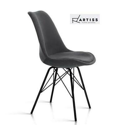 AU102.70 • Buy Artiss Eames Dining Chairs Kitchen Chair DSW Velvet Fabric Padded Grey Cafe X2