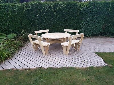 Heavy Duty Round Garden Picnic Table/Bench (1.6m) With Back Rests Fully Treated • 600£