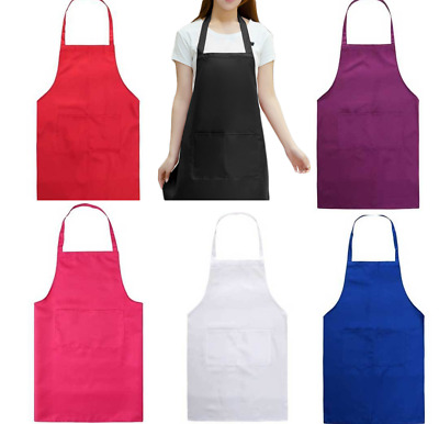 £3.99 • Buy Plain Apron With Front Pocket Chefs Butchers Beauty Kitchen Cooking Craft Baking