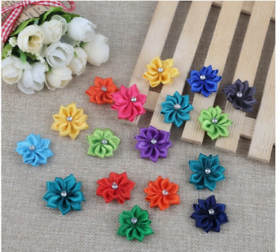 Satin Ribbon And Diamante Craft Flowers - Pack Of 5 X  MIXED 28mm Wide Applique • 2.95£