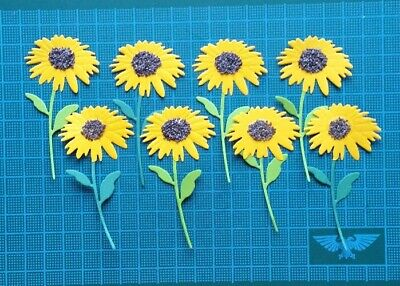 10 Sunflowers Paper Die Cuts Card Topper Spring Flowers Joy! Crafts Toppers • 3£