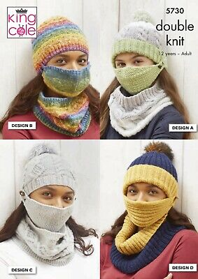 Ladies Hats Face Coverings Cowls Dk Knitting Pattern New From King Cole 5730 • 2.95£
