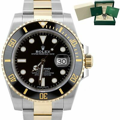 $ CDN17159.44 • Buy Rolex Submariner Date Ceramic Two-Tone Gold Stainless Black Dive Watch 116613 LN