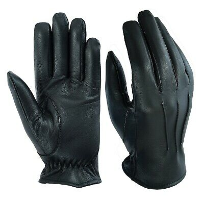 Men's Leather Police Top Quality Soft Genuine Real Driving Gloves Unlined Black • 9.99£