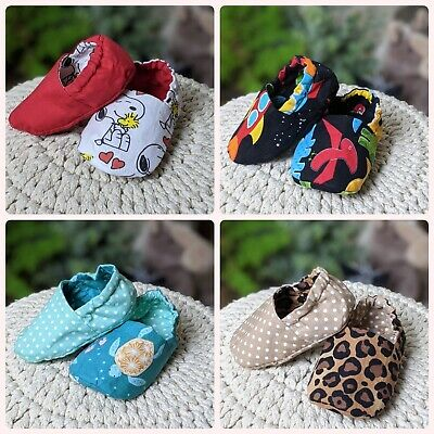 £10 • Buy Reversible Baby Booties Slippers Moccasins Cotton Handmade