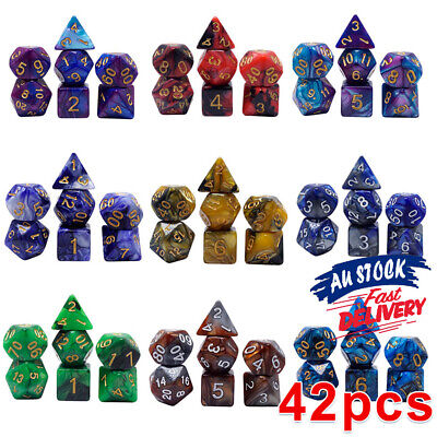 AU19.90 • Buy 42pcs DND RPG D4-D20 Polyhedral Dice Game For Dungeons And Dragons Playing Sets