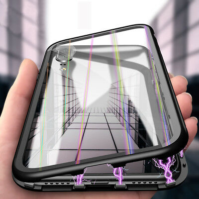 Magnetic Adsorption Case Tempered Glass Cover Fr Huawei P30 P20 Mate 20 Pro • 4.59£