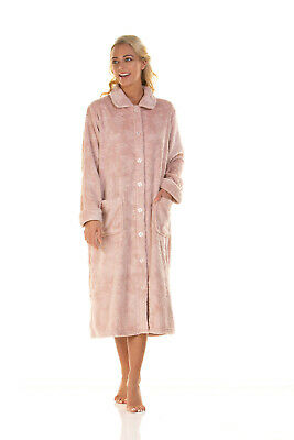 Ladies La Marquise Button Front Soft Embossed Fleece Dressing Gown • 27£