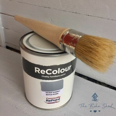 £12.95 • Buy 750ml CHALK SILVER SONNET GREY Furniture PAINT Chalky Matt Smooth Great Finish