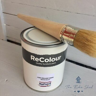 750ml CHALK WHITE Furniture Wall PAINT Chalky Matt Smooth No Primer Great Finish • 12.95£