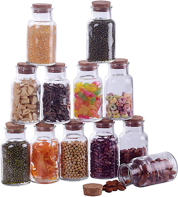 Amisglass 12-Pieces Glass Jars With Cork Lids, 300 Ml Multifunctional Storage • 28.58£