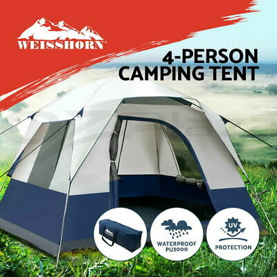AU148.95 • Buy 4 Person Camping Tent Hiking 250x250cm Double Layer Weather Protection Steel