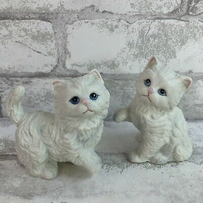 $ CDN31.27 • Buy 2 Homco Vintage White Persian Cat Figurines Porcelain Bisque Blue Eyes Small