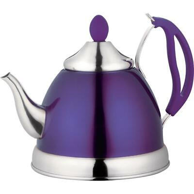 Purple Tea Kettle 2.5 Litre Stainless Steel Polished Stove Top/Gas/Electric • 12.95£