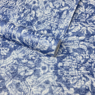 Fine Décor - Blue And White Distressed Damask Feature Wallpaper - FD21769 • 9.99£