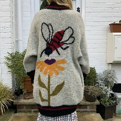 Vintage Wool Cardigan Bees Flowers Colourful Sunflower L Chunky Amano Pachamama • 66£