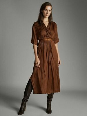 AU120 • Buy BNWT MASSIMO DUTTI Vented Dress W/ Belt XS