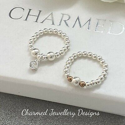 Sterling Silver Stretch Ring Duo X2 CRYSTAL CHARM  Beaded Rings 925 Ladies Gifts • 12£