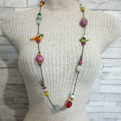 Long Beaded String Necklace Multicoloured Wood Parrots Costume Jewellery Modern  • 9.50£