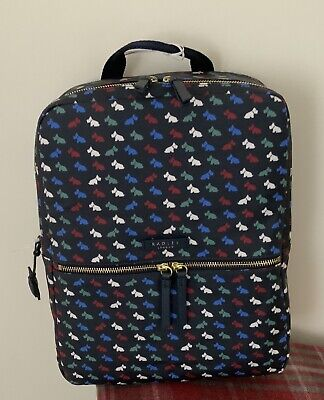 NWT.Radley 'MULTI DOG' Large Blue Oilcloth Rucksack/ Backpack/ Grab Bag • 65£