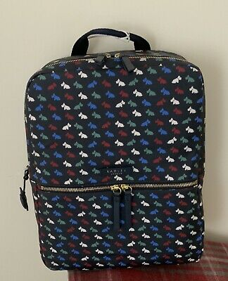 NEW Radley 'MULTI DOG' Large Blue Oilcloth Rucksack/ Backpack/ Grab Bag • 55£