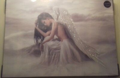 New Mystical Fairy / Angel Canvas Picture Wall Art Ready To Hang. Diamante Edge. • 32.99£