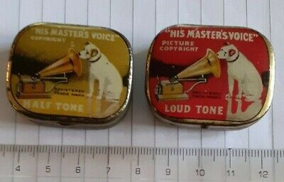 2 HMV Gramophone Needle Tins With Paper Inserts - With 'Nipper' On Tins  • 12£
