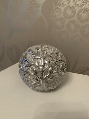 Silver Tree Of Life Ceramic Ball Ornament Home Decoration 10cm • 9.99£