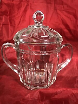 Pressed Glass Candy Dish Jar With Lid And Handles • 9.12£