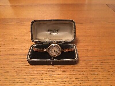 9ct Gold 1920's Art Deco Ladies Cocktail Watch With Mother Of Pearl Face. • 175£