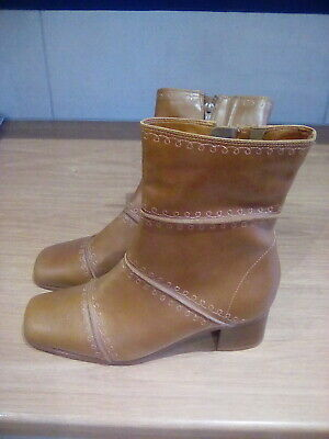 Fabulous K By Clarks Softees Brown/Tan Leather Boots - Size 6 E - Wide - New • 7.99£